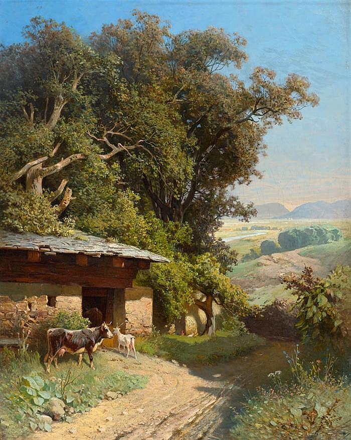 *HABENSCHADEN, SEBASTIAN (1813 München 1868) Sommerliche Landschaft mit einem Viehstall und Tieren. Öl auf Leinwand. 53 x 43 cm.