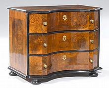 A SMALL BAROQUE WALNUT CHEST OF DRAWERS, Germany,