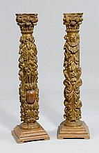 A PAIR OF CARVED AND PAINTED ORNAMENTAL