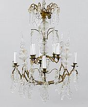 A BRASS AND CUT GLASS CHANDELIER,Baroque style,