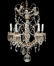 A CRYSTAL GLASS CHANDELIER, Baroque style, 20th