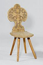 A RUSTIC CHAIR,Alpine region, 19th century. Carved
