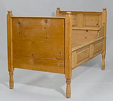 A PINE BED,Grisons, dated 1753. W 115, L 119, H