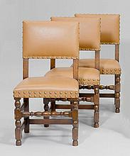A SUITE OF 4 CHAIRS, Louis XIII style. Turned oak.