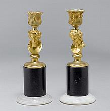 PAIR OF SMALL CANDLESTICKS,Napoleon III.Gilt