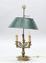 BOUILLOTE LAMP, Restoration, France.Gilt bronze.