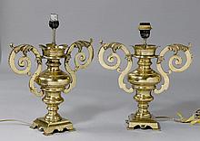 PAIR OF AMPHORAS AS LAMPS,late Baroque.Brass and