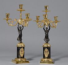 PAIR OF SMALL GIRANDOLES,Empire style, France.Gilt