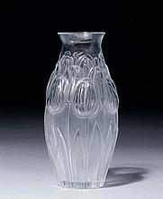 VASE,France, Lalique.Colourless glass. Convex