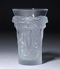 VASE,France, Lalique.Colourless glass. Walls with