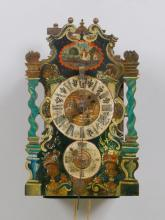 CLOCK WITH WOODEN COGWHEELS AND ALARM,