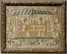 EMBROIDERED PICTURE FEATURING THE SHROUD OF CHRIST,