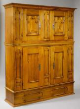 A SWISS BAROQUE DEUX-CORPS, Berne, 18th c. Shaped walnut. Iron mounts. 192x56x229 cm. 1 key.