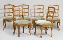 SET OF 6 CHAIRS, late Baroque, Bern, 19th century. Shaped and carved walnut. Blue patterned velour cover.