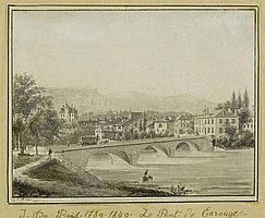 GENF.- Jean Dubois (1789-1849). Le Pont de