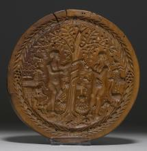 BAKING MOULD DEPICTING ADAM AND EVE IN PARADISE,