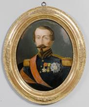 PAIR OF OVAL REVERSE GLASS PORTRAITS OF EUGENIE AND NAPOLEON III,