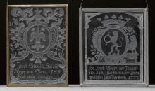 LOT OF 4 CUT GLASS COATS-OF-ARMS,