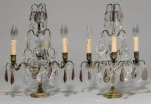 PAIR OF CANDELABRAS WITH CRYSTAL GLASS HANGINGS,