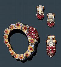 RUBY, DIAMOND AND ENAMEL DEMIPARURE, VERGER FRÈRES