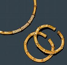 DIAMOND AND GOLD NECKLACE WITH 2 BANGLES,