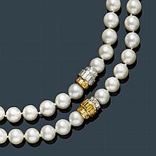 AKOYA PEARL AND DIAMOND SAUTOIR, HEMMERLE.White