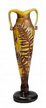 DELATTE NANCYLARGE VASE, c. 1900Yellow glass