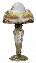 DAUM NANCYTABLE LAMP, c. 1900Light blue glass,