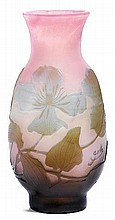 EMILE GALLEVASE, c. 1900White and pink glass
