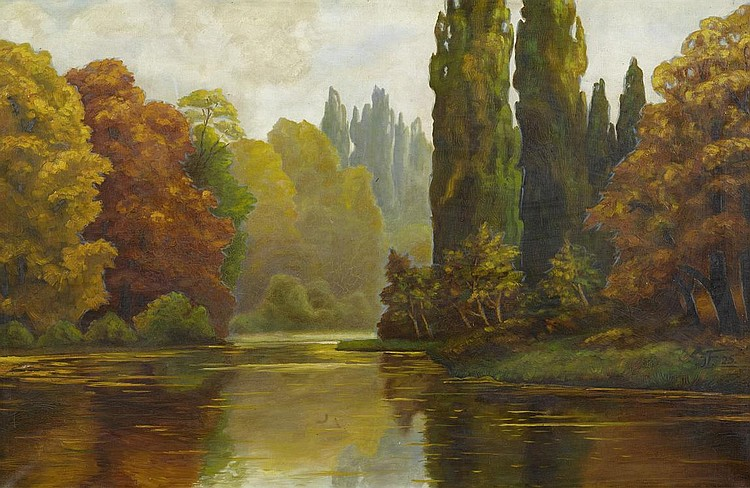 FLANDRIN, JULES LÉON.(1871 - 1947).Landscape.