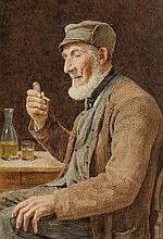 ANKER, ALBERT(1831 Ins 1910)Old man smoking a