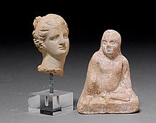 2 TERRACOTTA OBJECTS.One with the figure of