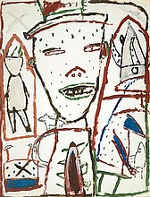 JAMES BROWN1951Hats. 1982.Oil on paper, laid on