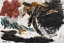 KAREL APPEL1921 - 2006Paysage noir. 1960.Oil on