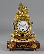 A SMALL GILT BRONZE MANTEL CLOCK, late Louis XVI,