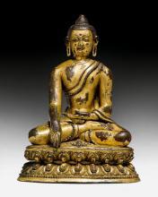A FINELY MODELLED GILT COPPER ALLOY FIGURE OF BUDDHA SHAKYAMUNI.