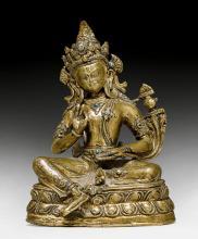 A BRONZE FIGURE OF BODHISATTVA MAITREYA WITH REMAINS OF GILDING.