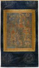 A THANKA OF DHARMATALA WITH THE TWO HEAVENLY KINGS VAISHRAVANA AND VIRUPAKSHA.