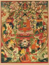 A FINE THANGKA OF THE AMITHABA-PARADISE SUKHAVATI.