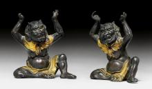 TWO PARTLY GILT BRONZE FIGURES OF ONI.