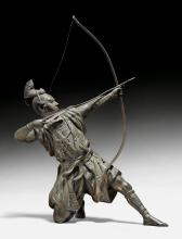 A POWERFUL BRONZE FIGURE OF AN ARCHER BY MASAMITSU.