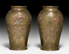 A PAIR OF BRONZE-VASES BY MIYABE ATSUYOSHI DECORATED WITH DRAGONS AND LIONS.