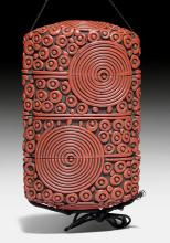 A THREE-CASE INRÔ WITH APPLIED RED-LACQUER SPIRAL-DECORATION.
