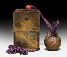 A FOUR CASE INRÔ DECORATED WITH A STORMY COAST LINE IN GOLD- AND SILVER HIRAMAKIE AND KIRIKANE.