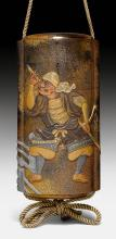 A FIVE-CASE LACQUER INRÔ DECORATED WITH TWO SAMURAI ON A BRIDGE.