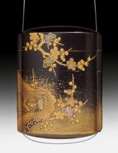 A BLACK LACQUER FOUR-CASE INRÔ WITH OX AND PRUNUS IN HIRAMAKIE.