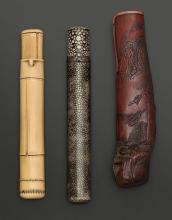 THREE KISERUZUTSU (PIPE CASES) MADE OF BAMBOO, RAY SKIN AND IVORY.