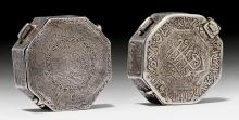 TWO OCTOGONAL SILVER AMULET BOXES TO BE WORN AT THE UPPER ARM.