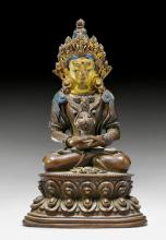 A COPPER ALLOY FIGURE OF AMITAYUS WITH PAINTED HEAD. Tibet, ca. 1800. Height 14 cm.