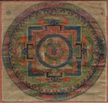 SMALL THANGKA WITH A MANDALA. Tibet, 19th c. 33.5x33.5 cm. In the center Vajradhara with a red paredra surrounded by five seedlings in lotus leaves, within a square palace, on each side the gates of the heavenly directions. Framed under glass.